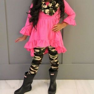 Other - Ruffled Hi-Lo Dress w/Camo Leggings&Camo Scarf New